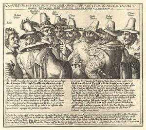 An engraving of eight of the thirteen conspirators, by Crispijn van de Passe.